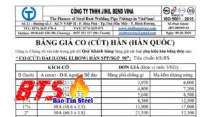 Bảng giá co hàn cut hàn Jilin Bend Vina