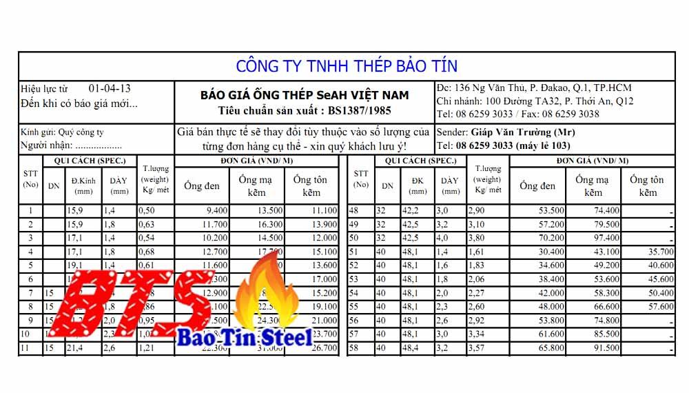 Bảng giá ống thép seah tiêu chuẩn BS