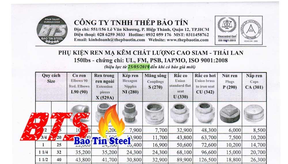 Bảng báo giá phụ kiện ren mạ kẽm Siam Thái Lan