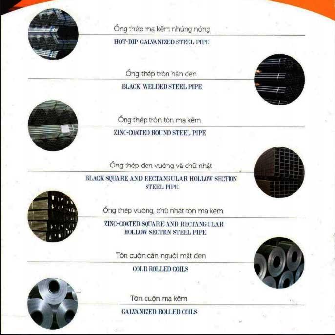 danh mục sản phẩm ống thép Việt Đức