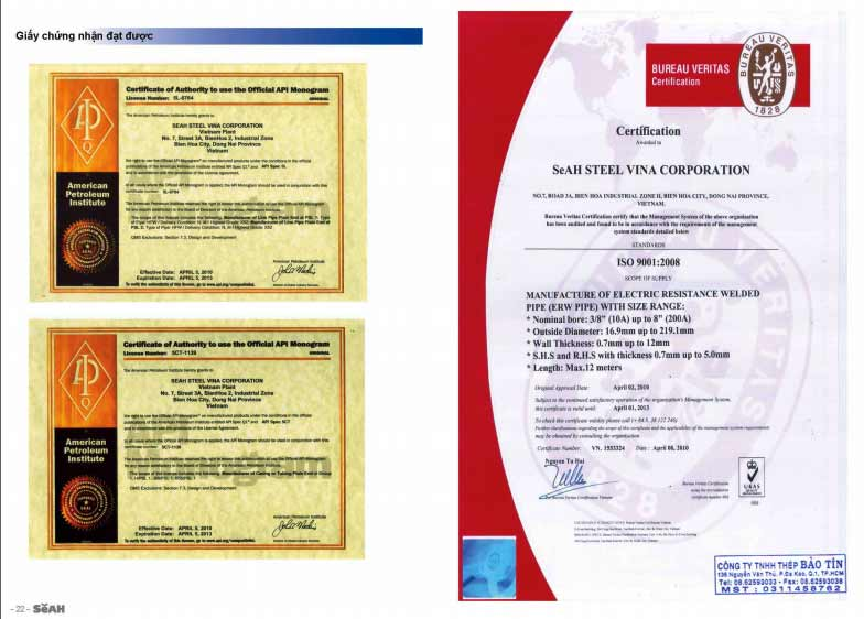 giấy chứng nhận seah